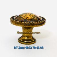 Báo giá nơi bán Mẫu núm tủ mặt thủy tinh hoa văn màu hổ phách tân cổ điển NT-009 giá rẻ tại Hà Nội