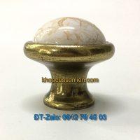 Báo giá nơi bán mẫu Núm tủ tròn màu đồng đính mặt sứ vân đá NT-008 37mm giá rẻ tại Hà Nội